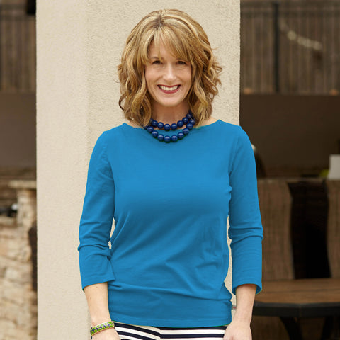 Caribbean Blue Boatneck Top