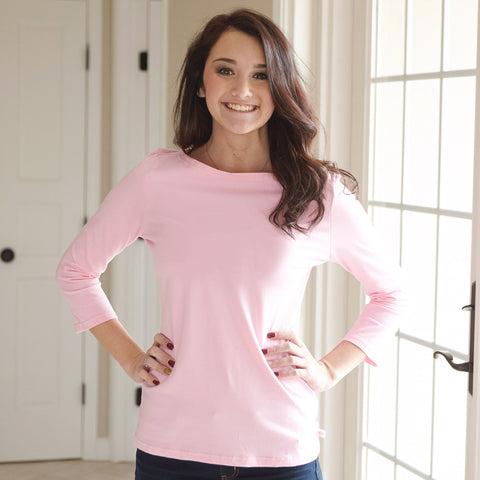 Tulip Pink Boatneck Top