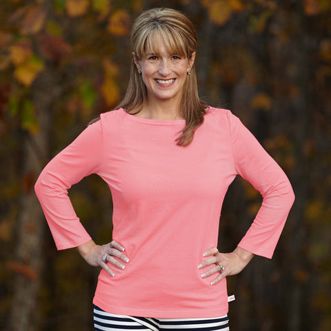 Coral Peach Boatneck Top