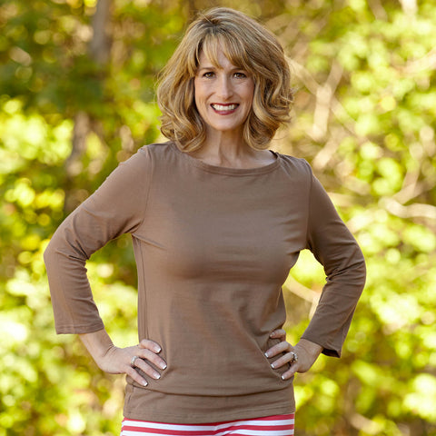 Taupe Boatneck Top
