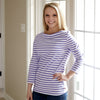 Lavender Stripe Boatneck Top