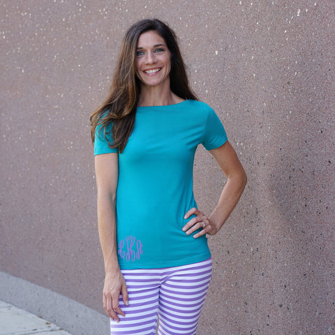 Teal Boatneck Top