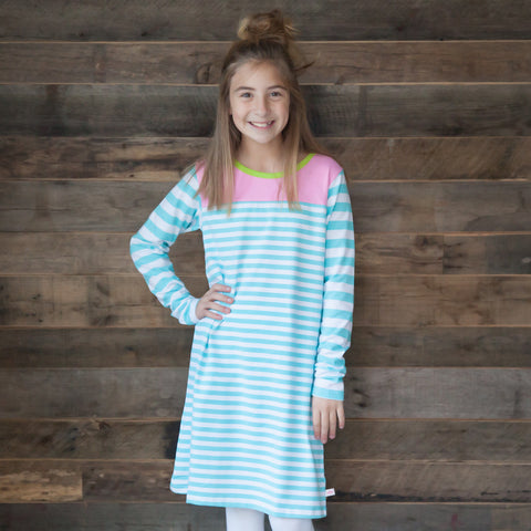 Aqua Stripe Pink Lime Yoke Dress