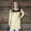 Yellow Stripe Navy Yoke Dress