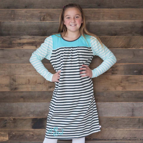 Dark Gray Stripe Aqua Yoke Dress