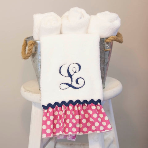 White Hand Towel with Hot Pink Dots Ruffle