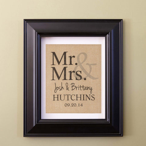 Burlap Mr. & Mrs. Print