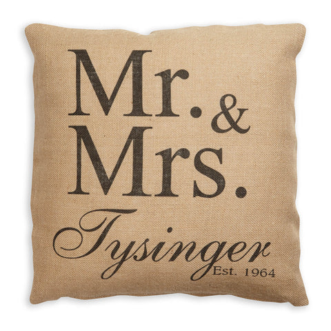 Burlap Mr & Mrs Pillow Cover