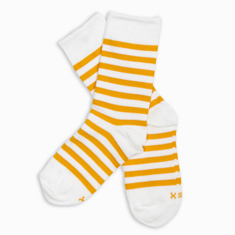 Men Mustard Stripe Crew Sock