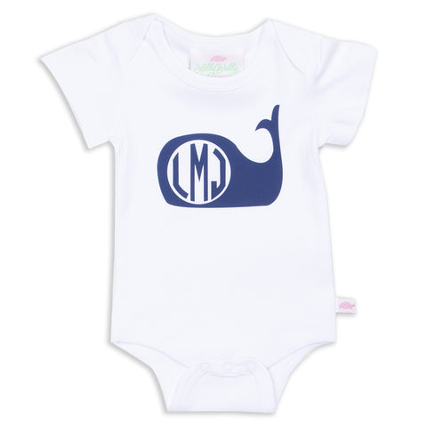 Navy Whale Initial Onesie