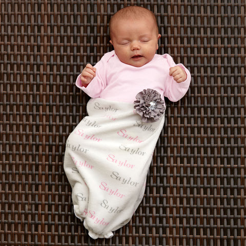 Pink Gray Minky Name Layette