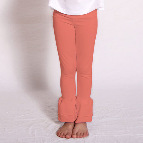 Girls Orange Ruffle Leggings