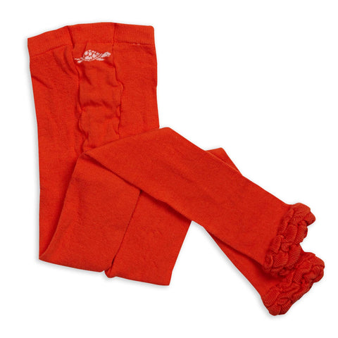 Orange Ruffle Footless Tights