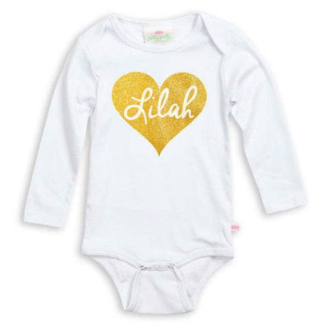 Gold Heart Name Onesie