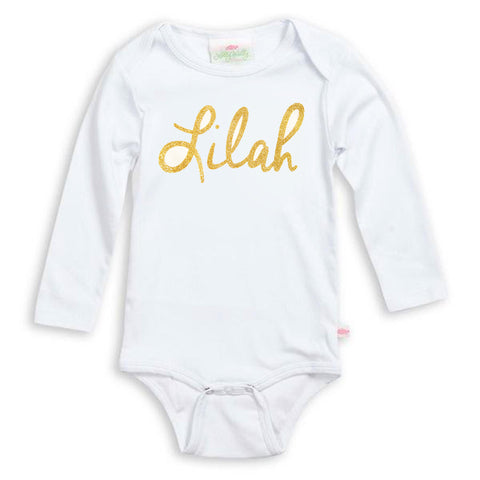 Gold Name Onesie