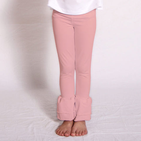 Girls Peach Ruffle Leggings