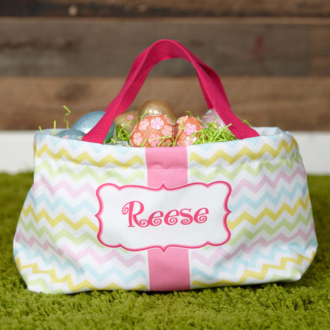 Pastel Chevron Name Easter Basket