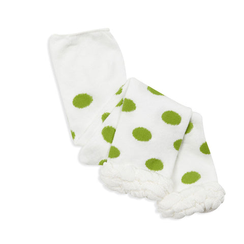 Lime Dot Ruffle Footless Tights