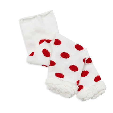 Red Dot Ruffle Footless Tights