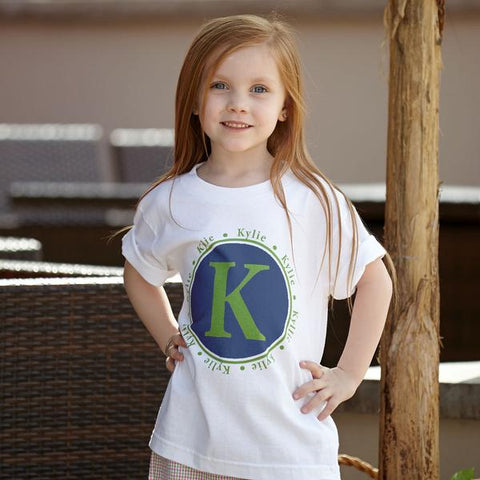 Navy Green Initial Name Tee