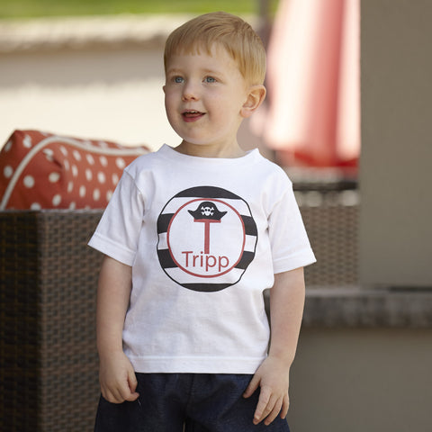 Boys Pirate Hat Initial Name Shirt