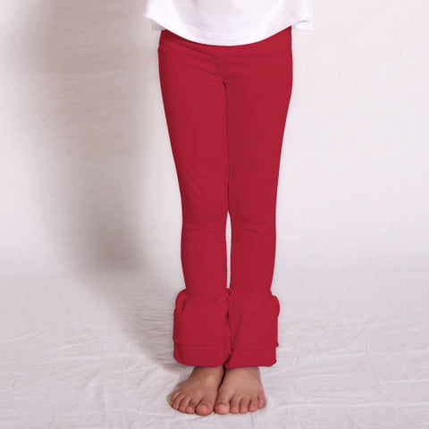 Girls Red Ruffle Leggings