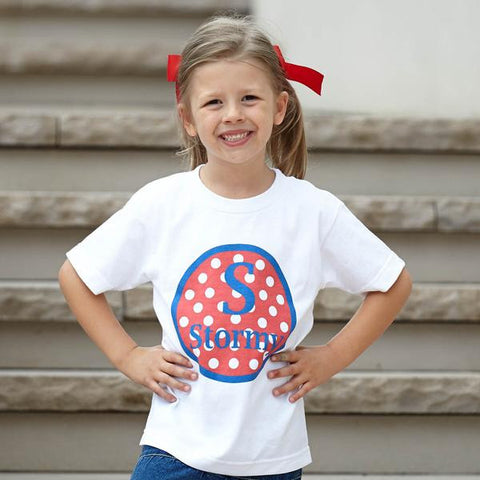 Red White Blue Dot Initial Name Tee