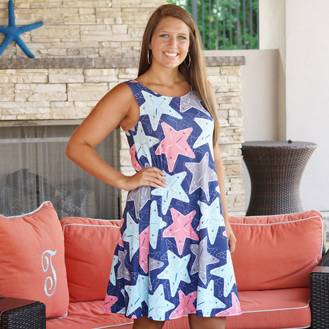 Starfish Rose Swing Dress