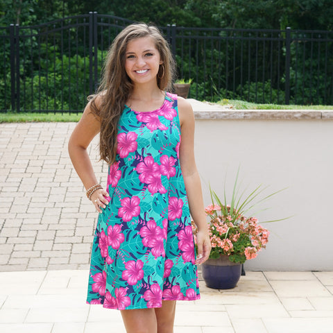 Hibiscus Rose Swing Dress