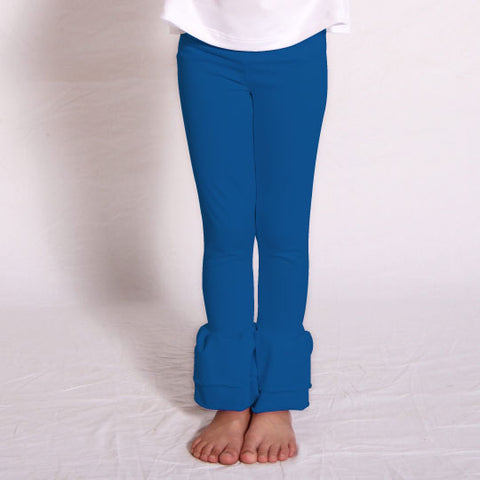 Girls Royal Blue Ruffle Leggings
