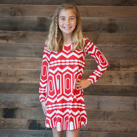 Red Abstract Charlee Dress
