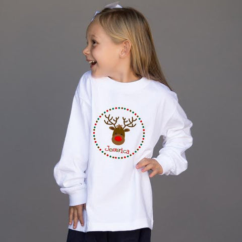 Circle Dot Reindeer Name Tee