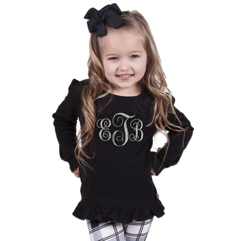 Black Ruffle Initials Top