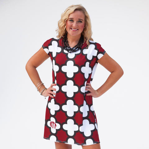 Burgundy Black White Quatrefoil Willa Dress