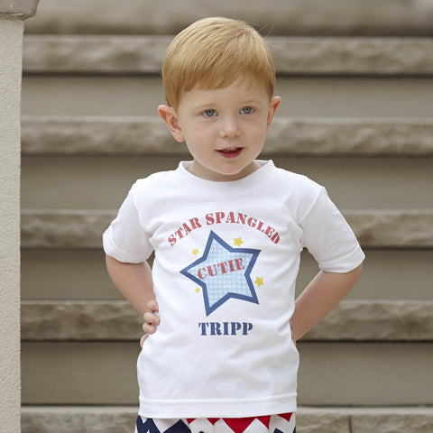 Boys Star Spangled Cutie Name Tee