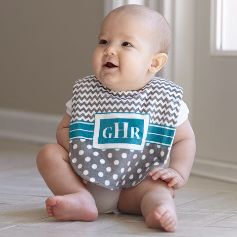 Gray Chevron Dot Minky Bib