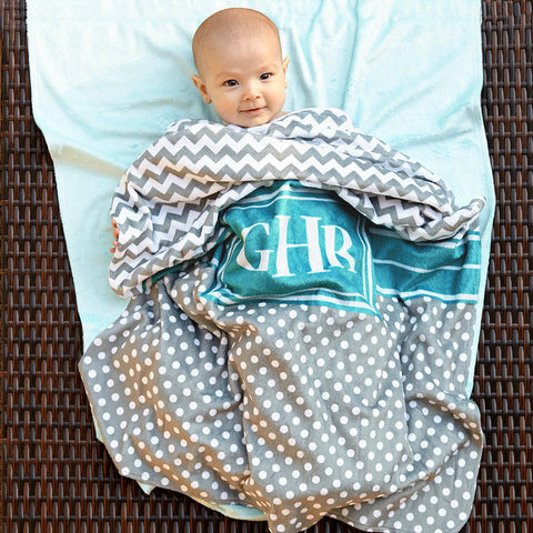 Grey Chevron Dot Minky Blanket