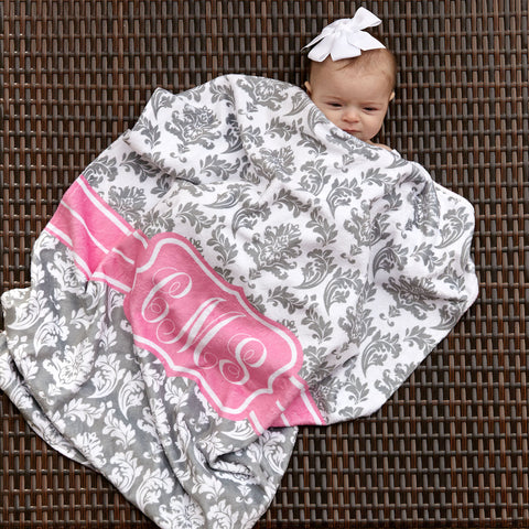 Gray Damask Initial Minky Blanket