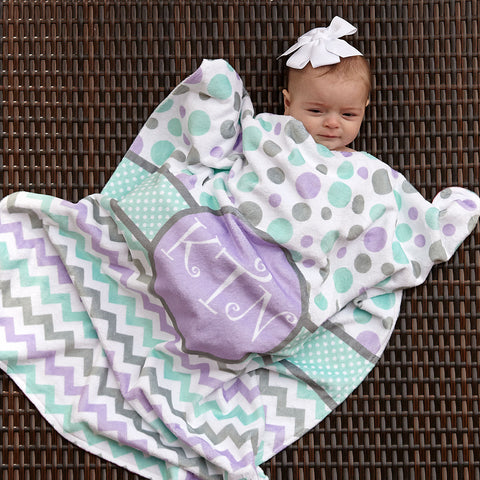 Multi Dot Chevron Circle Initial Minky Blanket