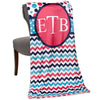 Hot Pink Multi Dot Chevron Circle Initials Throw Blanket