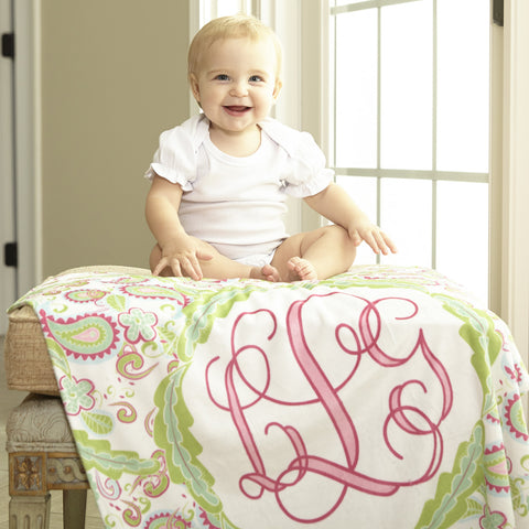 White Paisley Initial Blanket