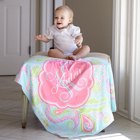 Paisley Name Blanket