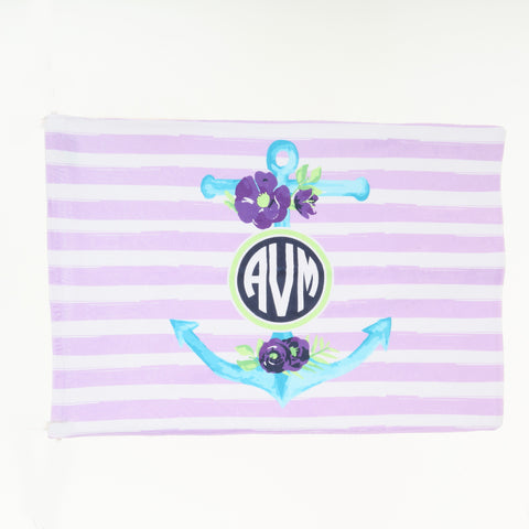 Anchor Initials Minky Pillowcase
