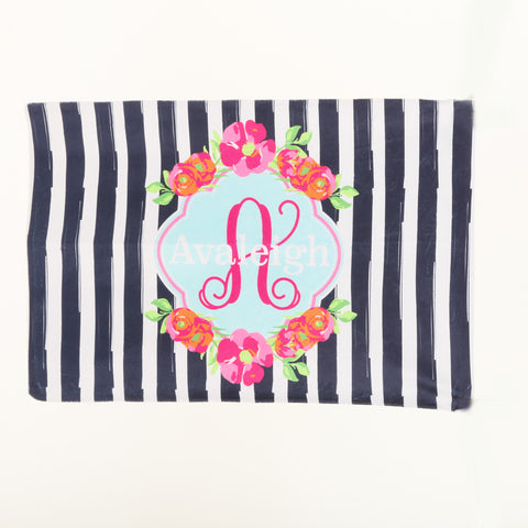 Flower Name Initial Minky Pillowcase