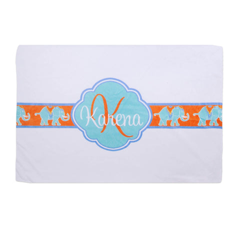 Elephant Name Initial Minky Pillowcase