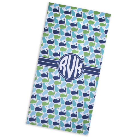 Aqua Navy Whales Beach Towel with Initials