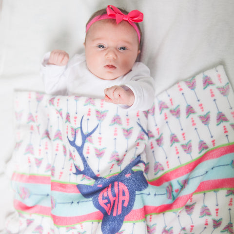 Baby Girls Deer Arrow Initial Blanket