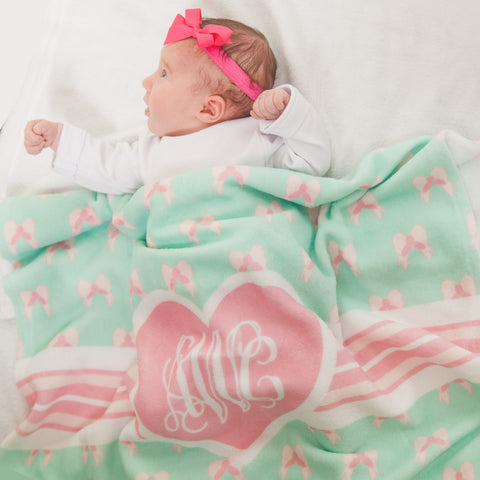 New Light Weight Bow Hearts Initial Blanket