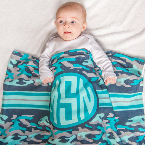Blue Camo Initial Blanket