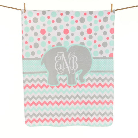 Multi Dot Chevron Circle Initial Blanket
